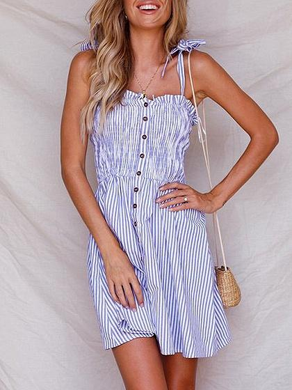 Blue Stripe Spaghetti Strap Button Placket Front Mini Dress