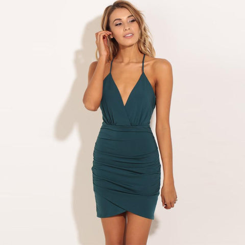 Backless Sleeveless Spaghetti Straps Pure Color Short Dress