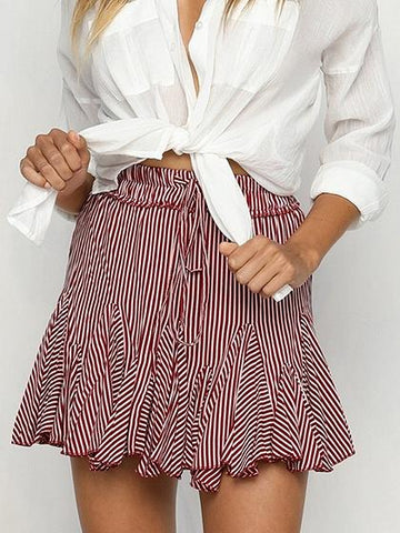 Red Stripe Polyester Drawstring High Waist Chic Women Mini Skirt