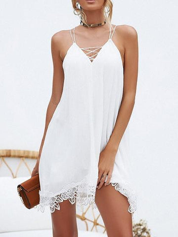 White Cotton V-neck Lace Panel Open Back Chic Women Cami Mini Dress