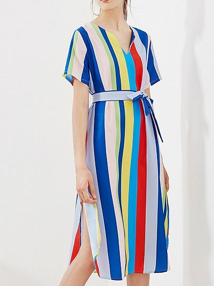 Multicolor Stripe Cotton V-neck Tie Waist Split Side Chic Women Dress