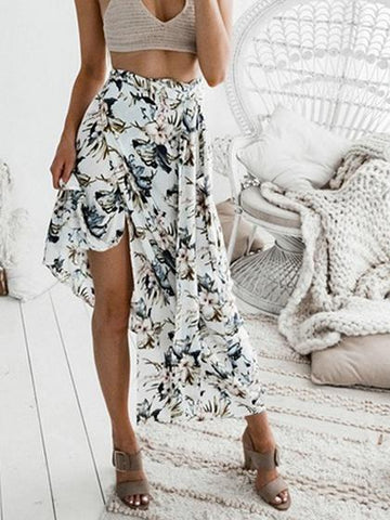White High Waist Floral Print Thigh Split Front Chic Women Maxi Skirt