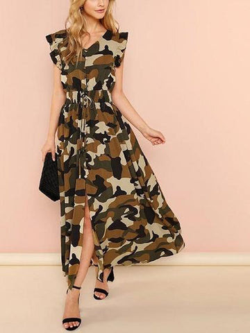 Army Green Chiffon V-neck Camouflage Print Chic Women Maxi Dress