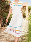 White Cotton V-neck Contrast Stripe Panel Chic Women Maxi Dress