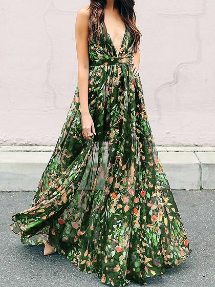 Green Plunge Floral Print Open Back Chic Women Cami Maxi Dress