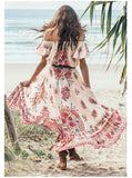Boho off shoulder Printed Irregular Maxi Dress