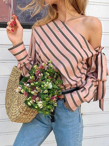 Pink Stripe Asymmetric Neck Long Sleeve Chic Women Blouse