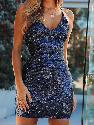 Dark Blue V-neck Sequin Detail Lace Up Back Chic Women Cami Mini Dress