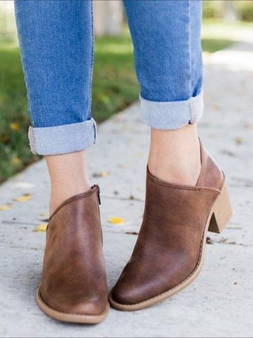 Brown Zip Side Fastening Pointed Toe PU Ankle Boots