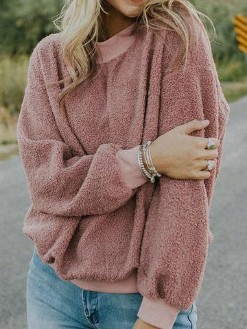 Pink Crew Neck Long Sleeve Chic Women Fluffy Sweatshirt