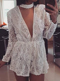 White Plunge Sequin Detail Long Sleeve Women Romper Playsuit