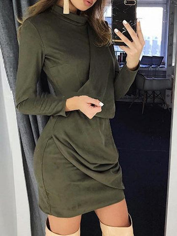 Army Green High Neck Ruched Detail Long Sleeve Women Mini Dress