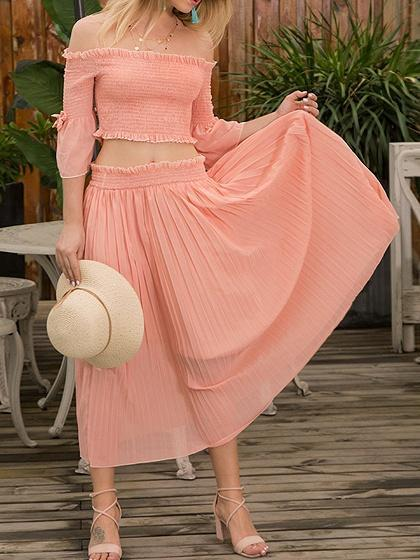 Orange Off Shoulder Flare Sleeve Crop Top And High Waist Maxi Skirt