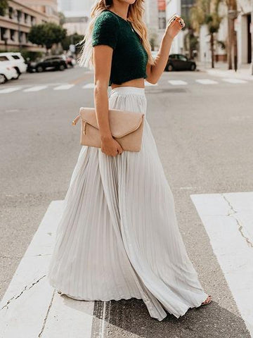 White High Waist Pleated Detail Women Maxi Skirt