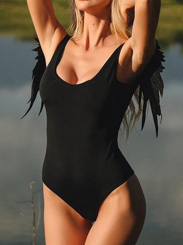 Black Angel Wings Panel Open Back One-piece Swimsuit