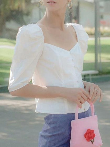 White V-neck Puff Sleeve Vintage Shirt