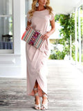 Pink Tie Waist Short Sleeve Maxi Wrap Dress