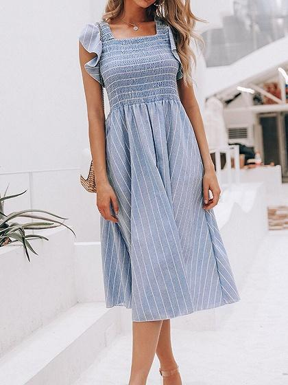 Blue Stripe Ruched Detail Ruffle Trim Women Midi Dress