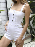 White Button Placket Front Open Back Sleeveless Playsuit