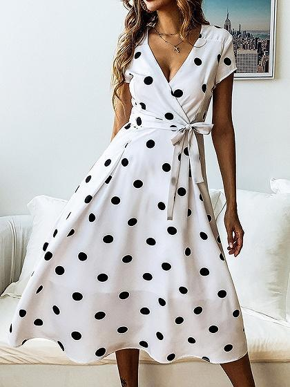 White V-neck Polka Dot Print Tie Waist Midi Dress