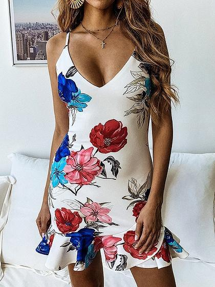 White V-neck Floral Print Ruffle Hem Cami Mini Dress