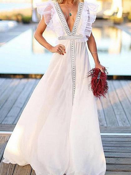 White Plunge Ruffle Trim Open Back Maxi Dress