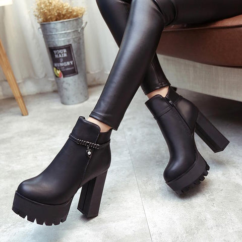 Platform Round Toe Side Zipper High Block Heel Ankle Boots High Heels
