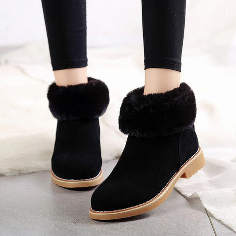 Ankle Fur Decoration Round Toe Velvet Warm Short Snow Boots