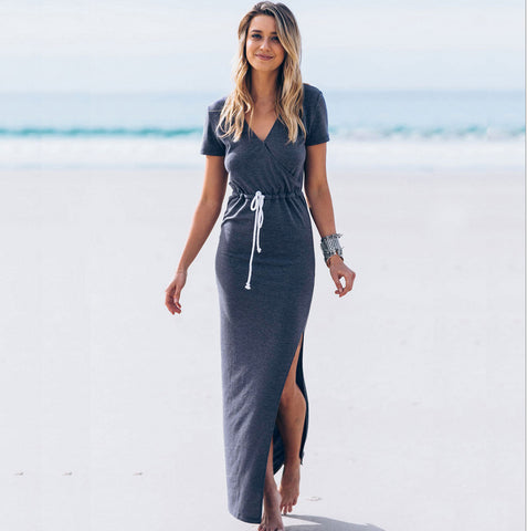 Casual V Neck Short Sleeve Split Maxi Pencil Dress
