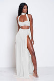 Pure Color Crop Top with High-waisted Skirt Two Pieces Dress Set