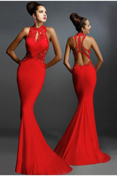 Pure Color Bodycon Mermaid Backless Long Dress
