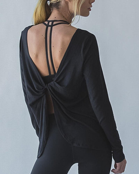 Long Sleeves Backless T-shirt