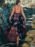 Black Floral Print Low Back Cami Maxi Dress