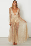 Deep V-neck Long Sleeves Pleat Long Transparent Dress
