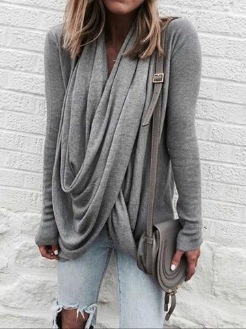 Gray Cotton Asymmetric Hem Long Sleeve Women T-shirt