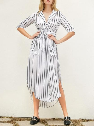 White V-neck Stripe Long Sleeve Shirt Dress