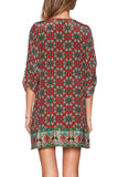 Ethnic Circle Pattern Tie Half Sleeve Shift Dress