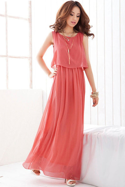 Red Overlay Sleeveless Chiffon Maxi Dress
