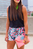 Fair Dot Multicolor Print Pom Pom Shorts