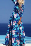 Blue Boho Floral Elbow Sleeve Maxi Dress