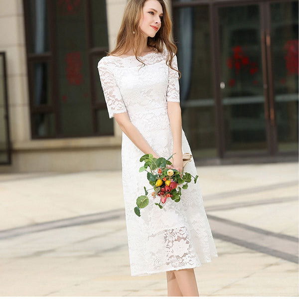 Half Sleeves Pure Color Slim Lace Long Dress