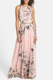 Baby Pink Floral Sleeveless Halter Maxi Dress