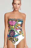 Artistic Floral Strapless Bandeau Swimsuit