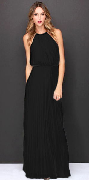Black Cold Shoulder Halter Chiffon Maxi Dress