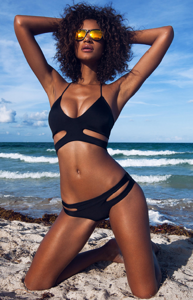 Black Solid Hollow Out Bikini Suits