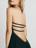 Black Halter Strappy Backless Maxi Dress