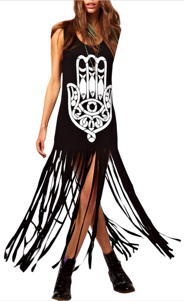 Black Bold Print Tassel Fringe Dress