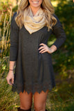 Deep Grey Lace Hem Trapeze Dress