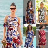 Bear Shoulder Hollow Out Floral Print Short Loose Dress