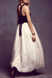 High Fashion Black White Tulle Halter Maxi Dress